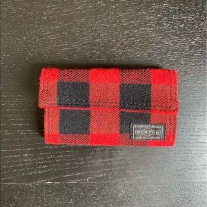 Yoshida Porter Key Holder in Red and Black Plaid